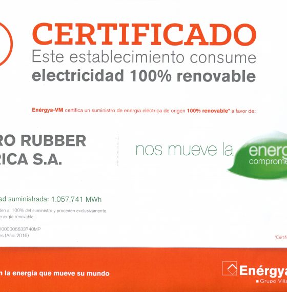 HIDRO RUBBER uses 100% renewable energy