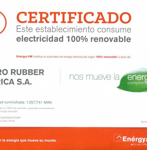 HIDRO RUBBER uses 100% renewable energy