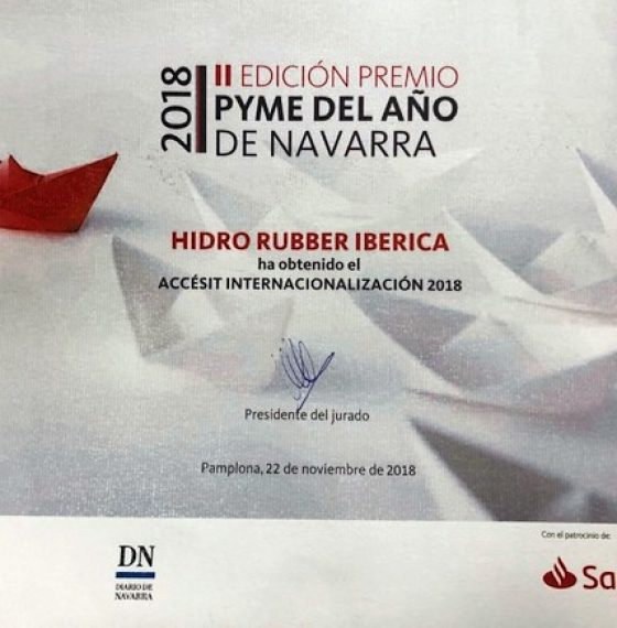 HIDRO RUBBER AWARDED IN NAVARRA DUE TO HIS INTERNATIONALIZATION