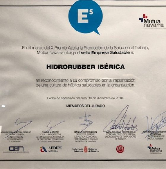 HIDRO RUBBER HAS BEEN AWARDED WITH THE BLUE STAMP (WORK HEALTH)